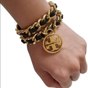 Tory Burch Metallic Chain Double Wrap Bracelet